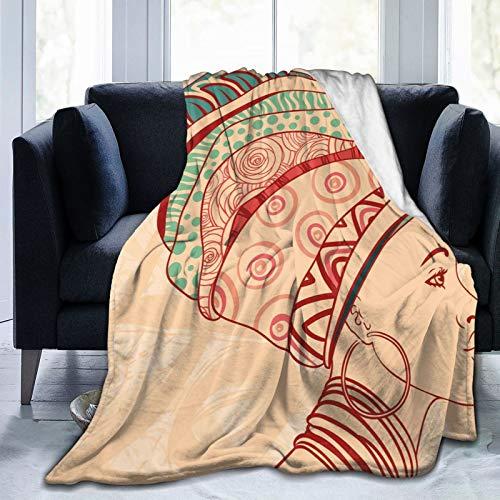 Manta suave y esponjosa, retrato femenino local con collar, pendientes y adornos étnicos turbantes, manta súper suave de microforro polar, manta de dormitorio, cama, manta de TV de 127 x 101 cm