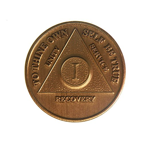 1 Year Bronze AA (Alcoholics Anonymous) Birthday - Anniversary Recovery Medallion/Coin/Chip