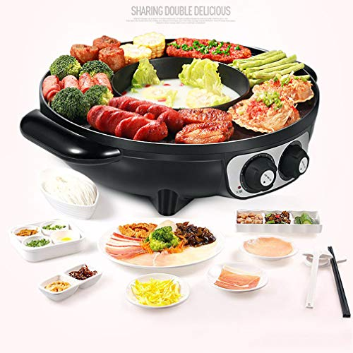Best Review Of Electric Induction Hot Pot Cooker 1700W 2 in 1 Stainless Steel BBQ & Hot Pot Integrated Cooker Pot for 6-8 People