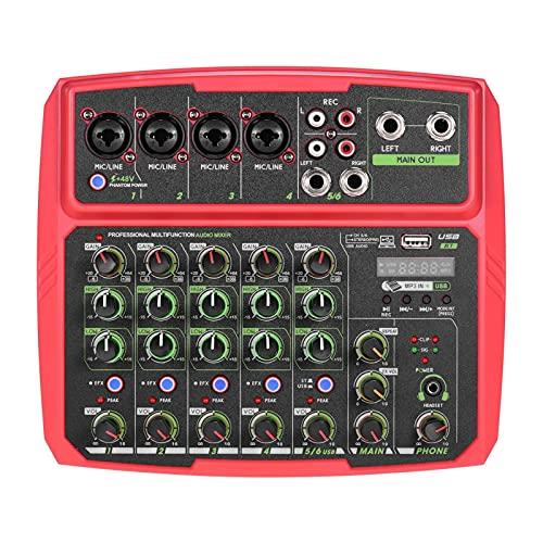 Mezclador de Audio 6 Canales La Consola De Mezcla USB Admite La Conexión BT con La Tarjeta De Sonido 48V Phantom Power Fácil de Operar (Color : Red, Size : One Size)