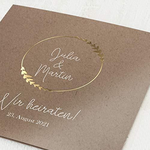 sendmoments Einladungen zur Hochzeit, Erdgebunden, 5er Klappkarten-Set quadratisch, personalisiert mit Text, wahlweise Gold Veredelung & persönliche Bilder, optional passende Design-Umschläge