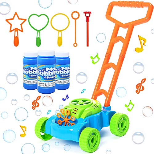 SIIFMVEOE Bubble Lawn Mower for Toddlers, Automatic Blower Machine with Music, Bubble Solution Included, Push Toys for Kids, Birthday Gift for Boys Girls