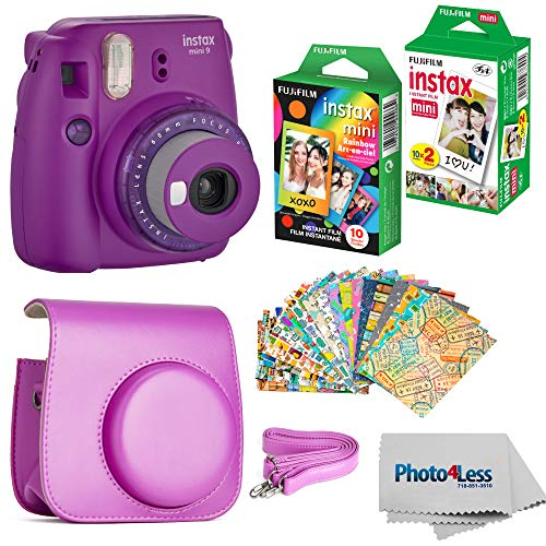 Fujifilm Instax Mini 9 Instant Camera (Purple) - Fujifilm Instax Mini Instant Film, Twin Pack - Fujifilm Instax Mini Rainbow Film - Case for Fuji Mini Camera – Fuji Instax Accessory Bundle