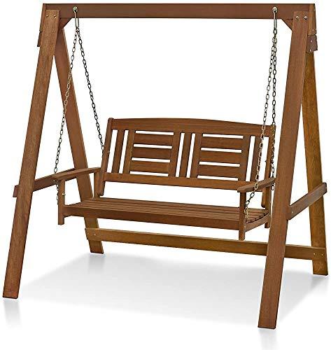 Porche columpio-jardín porche de madera columpio columpio adecuado para interior y exterior, 2 Sitzer mit Gerüst