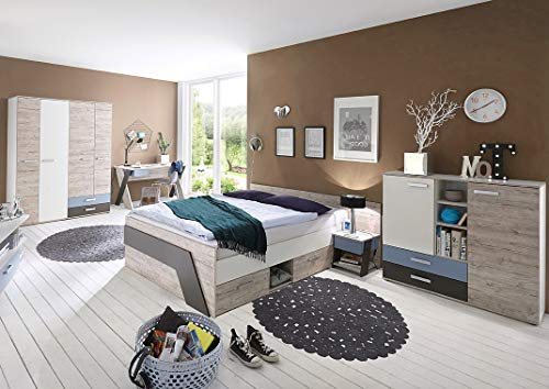 Lomadox Jugendzimmer Komplett Set Kinderzimmer mit 140x200cm Jugendbett LEEDS-10 Komplett Set 5teilig in Sandeiche Nb.-weiß-Lava-Denim