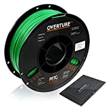 OVERTURE PETG Filament 1.75mm with 3D Build Surface 200 x 200 mm 3D Printer Consumables, 1kg Spool (2.2lbs), Dimensional Accuracy +/- 0.05 mm, Fit Most FDM Printer (Green)
