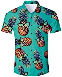 ALISISTER Herren Hawaiihemd Drucken Kurzarm Ananas Hemd Tropical Hawaii Luau Hemden Männer Casual Retro Aloha Urlaub Button Down Shirts L