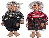 Brandsseller Deko Weihnachts/Winter Wichtel Pärchen Set Mann und Frau ca. 37 cm Hoch Zwerg Gnom Rot/Grau - 3