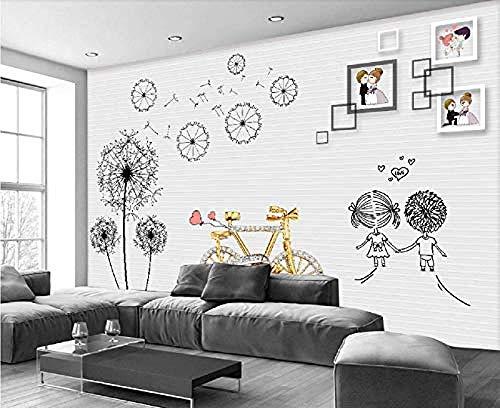 XHXI Mural de pared papel tapiz 3D personalizado moderno romántico diente de león joyería bicicleta Pared Pintado Papel tapiz 3D Decoración dormitorio Fotomural sala sofá pared mural-350cm×256cm