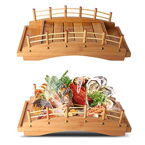 Japanese Style Arch Sushi Bridge Bamboo Cuisine Display Boat, Sashimi Serving Tray Wooden Plate Board for Sushi Tableware Decoration Ornament(Yellow),Medium