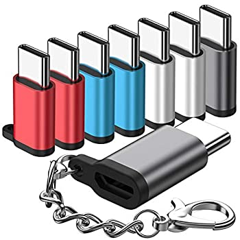 Micro USB to USB C Adapter 8-Packs Aluminum USB Type C Adapter Convert Connector with Keychain Charger Compatible Samsung Galaxy S10 S9 S8 Plus Note 9 8 LG V40 V35 G8 G7,Google Pixel 3 XL,Moto Z2 Z3