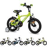 Hiland Bicicleta infantil para niños y niñas, 3 + años, ruedas de apoyo espaciales de 14 pulgadas