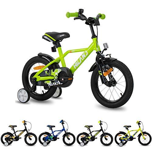 HILAND Adler 14 Zoll Kinderfahrrad für Jungen 3-5 Jahre mit Stützrädern, Handbremse und Rücktritt Grun