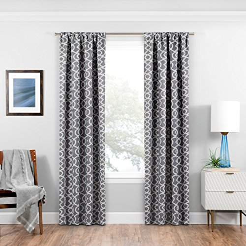 ECLIPSE Room Darkening Curtains for Bedroom - Isanti 37' x 84' Thermal Insulated Single Panel Rod Pocket Light Blocking Curtains for Living Room, Grey