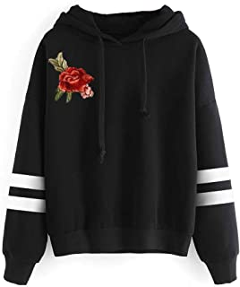 Oliviavan Womens Long Sleeve Embroidery Applique Hoodie Sweatshirt Jumper Hooded Pullover