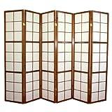 JUANIO Biombo japonés Shoji de Madera marrón Oscuro de 6 Paneles