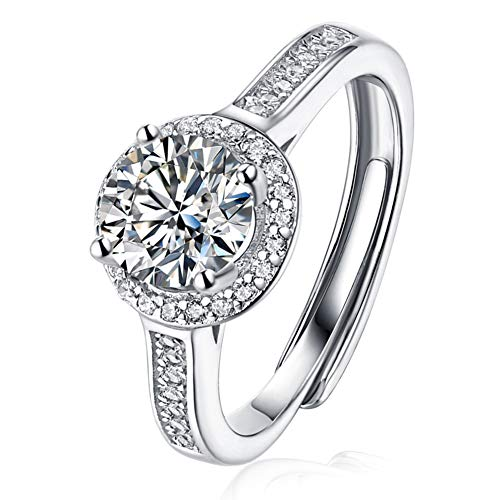 Hasril halo ring 925 Sterling Silver 1CT Moissanite Engagement Ring for Women...