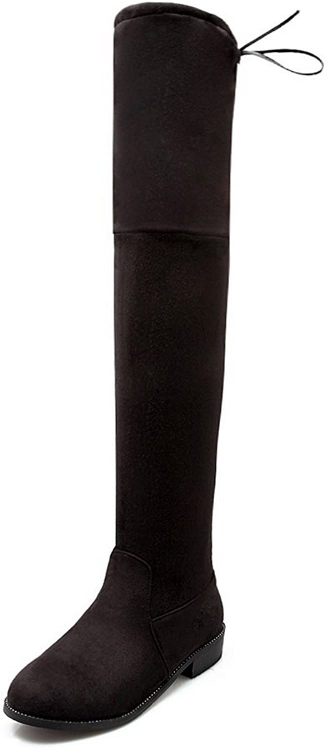 BalaMasa Womens Pull-On Low-Heel Round-Toe Solid Square Heels Above-The-Knee Black Suede Boots ABL09815 - 4.5 B(M) US