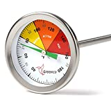 Compost Soil Thermometer by Greenco, Stainless Steel, Celsius and Fahrenheit Temperature Dial, 20...