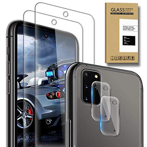 SAMCASE [2 Pack] Protector de Pantalla para Samsung Galaxy S20 Plus y [2 Pack] Protector de Lente de cámara, Cristal Templado [9H Dureza] [Sin Burbujas] [Anti-Arañazos] HD Cristal Vidrio Templado