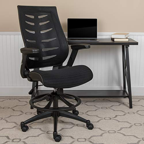 Flash Furniture High Back Black Mesh Spine-Back Ergonomic Drafting Chair with Adjustable Foot Ring and Adjustable Flip-Up Arms