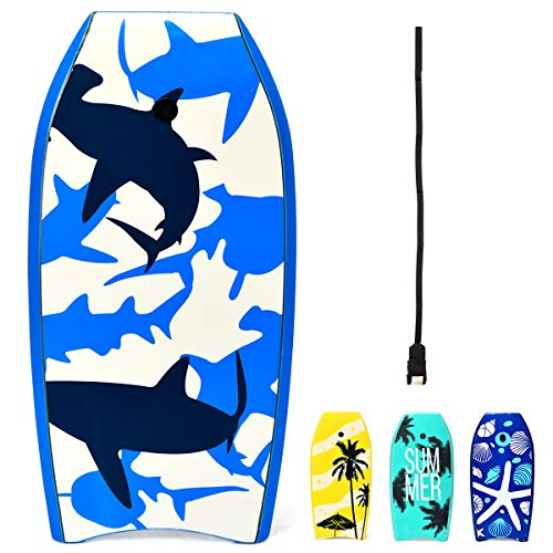 "GYMAX 33""/37""/41"" Super Lightweight Bodyboard with HDPE Slick Bottom & Premium Wrist Leash, Durable Bodyboard for Kids Teens and Adults (White Blue Shark, 41)"