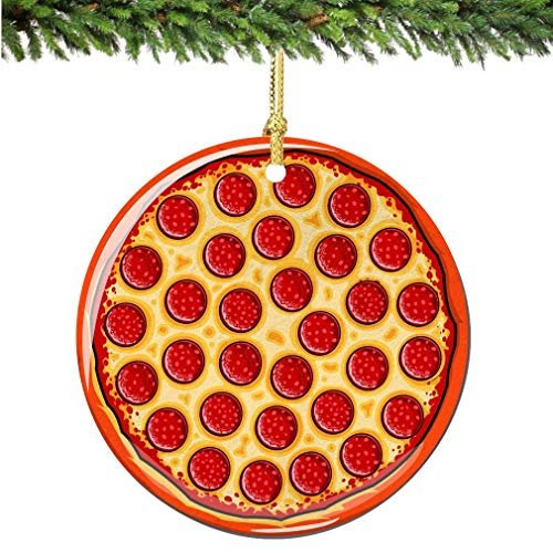 City-Souvenirs Pepperoni Pizza Christmas Ornament Porcelain Double Sided