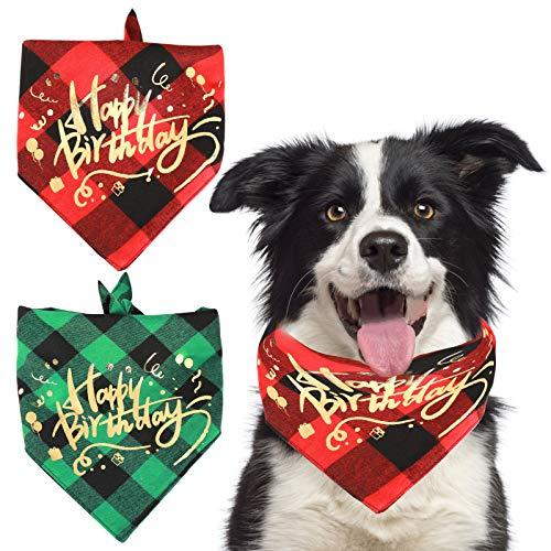 HACRAHO Hunde-Geburtstags-Halstuch, 2 Stück, klassisches Karomuster, Happy Birthday, Hundehalstuch, waschbar, Dreieckstuch für Hunde und Welpen, Rot und Grün