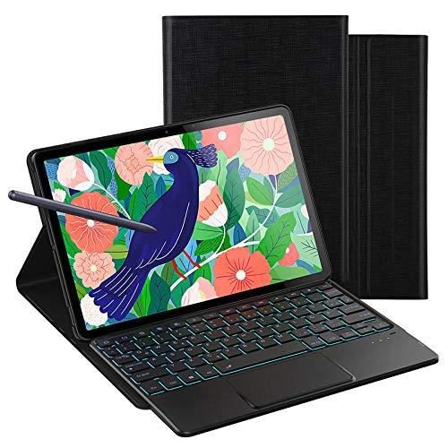 Cubrir con Teclado Deutsche Backlit Funda de Teclado para Samsung Galaxy Tab S7 + 12.4 / S7 11 Tablet Cover Backlight Alemania Bluetooth Keyboard Funda Daluo (Color : Black, Size : Tab s7 Plus)