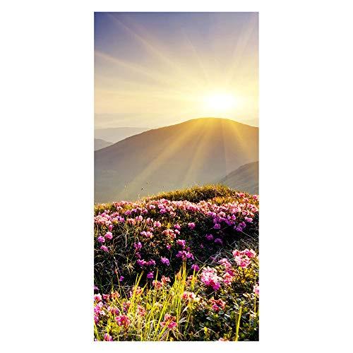 wandmotiv24 Türtapete Bergrücken im Sonnenlicht 100 x 200cm (B x H) - Dekorfolie selbstklebend Tapete, Tür-Aufkleber, Türbild, Wandbild M0511