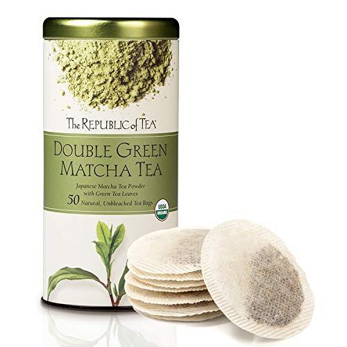 The Republic of Tea 100% Organic Double Green Matcha Tea Bags (40051) - Green Tea and Organic Stone-Ground Japanese Tencha Leaves - Matcha Tea Powder with Green Tea - 50 Natural Unbleached Tea Bags