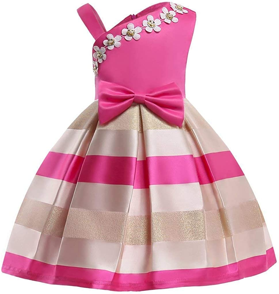 2-9T Girls Kids Striped Floral Ruffles Flower Gown Ball Dress Outstanding Pa Spring new work one after another