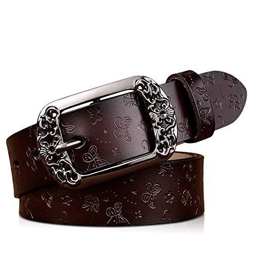 DORRISO Nueva Elegante Cinturón Mujer Cinturón de Piel vacuno Para Mujeres Con la hebilla del Pin de la Aleación Viajar Cinturón 105CM 110CM 115CM