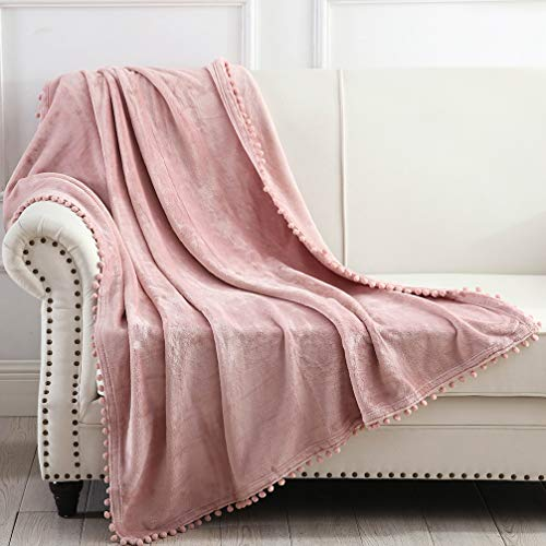 """NordECO HOME Flannel Throw Blanket - Soft Cozy Warm Blanket with Pompom Fringe for Couch Bed Sofa Chair, 50"""" x 60"""", Pink"""