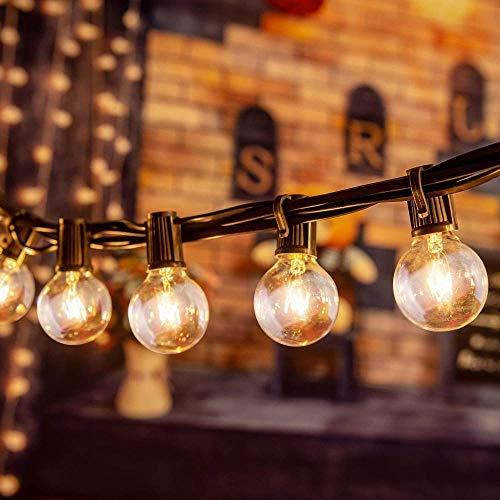 Cadena ligera G40 con bombillas de alambre   25 + 3 bombillas de recambio   Iluminación impermeable conectable de 7,62 m   Decoración para jardín, fiesta de bodas, Navidad, etc.