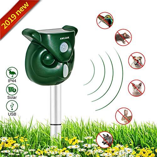 Repelente para gatos,Repelente Ultrasónico para Animales,con LED,Carga solar,ristente al agua, Sensor de...