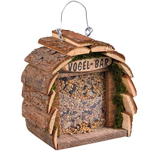 Gardigo Vogelfutterhaus aus Holz I Vogelhaus zum Aufhängen I Futterhaus für Vögel I Vogelfutterspender für Balkon und Garten