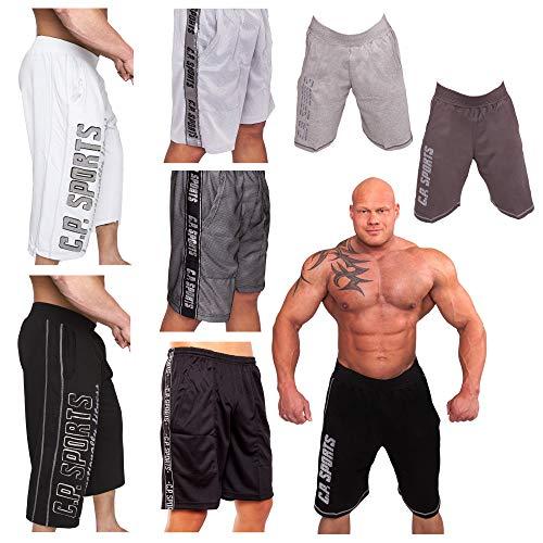 C.P. Sports Kurze Fitnesshose, Bodybuilding Short, Hose Herren, Profi Gym ¾ Trainingshose, Fitness Hose Männer, Bekleidung, S-XXL (Mesh Short anthrazit, XXL)