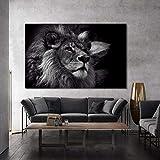 KWzEQ Mural póster Animal y Lienzo Mural Mural león Negro Muebles de Sala Fotos,Pintura sin Marco,60x90cm