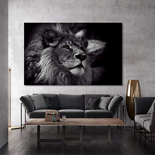 KWzEQ Mural póster Animal y Lienzo Mural Mural león Negro Muebles de Sala Fotos,Pintura sin Marco,45x67cm