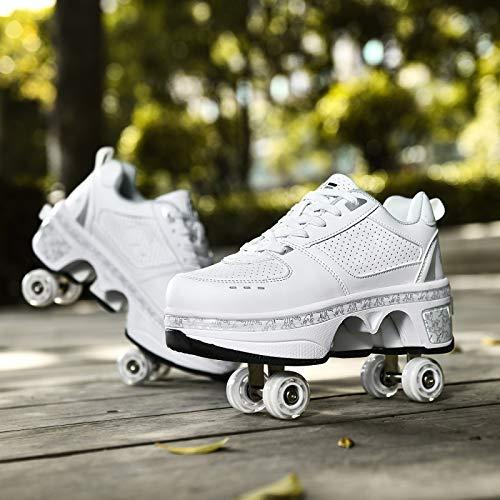 JTKDL Inliner FüR Kinder, Rollschuhe Madchen Verstellbar, Inline-Skate, 2-in-1-Mehrzweckschuhe, Verstellbare Quad-Rollschuh-Stiefel,Silver-EU33/UK1