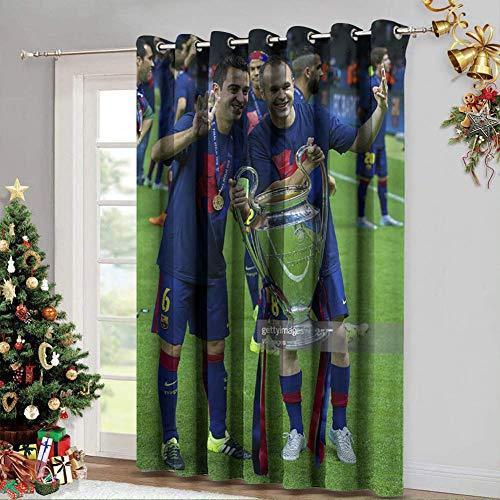 DRAGON VINES Cortinas opacas para sala de estar, xavi iniesta Champions League con aislamiento térmico para sala de estar, juego de 2 paneles de 96 x 96