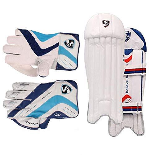 SG Cricket Wicket Keeping LEGGUARD- Men + Cricket Wicket Keeping Gloves- Men Size