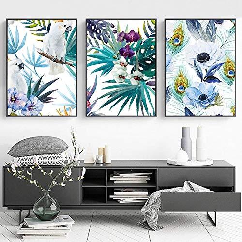 Cuadros de arte de pared Acuarela Loro Llant Hojas y flores Pintura de lienzo Póster nórdico Impresión de paisaje Imagen Decoración 60x80cm (24x32in) x3 Sin marco