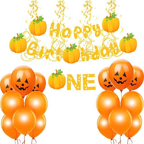 pumpkin Birthday Decorations, yellow Glitter pumpkin Themed Decor Set fall birthday Decorations,