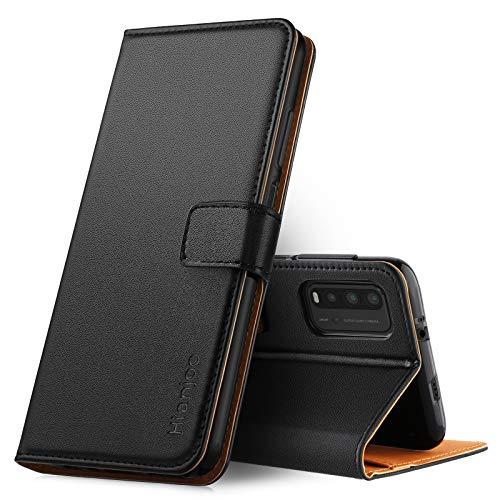 Hianjoo Hülle Kompatibel für Xiaomi Redmi 9T, Tasche Leder Flip Hülle Brieftasche Etui mit Kartenfach & Ständer Kompatibel für Xiaomi Redmi 9 Power,Schwarz