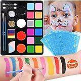 Nabance Pinturas de Cara para Niños Set Pintura Facial Pintura Corporal con 16 Colores Maquillaje...