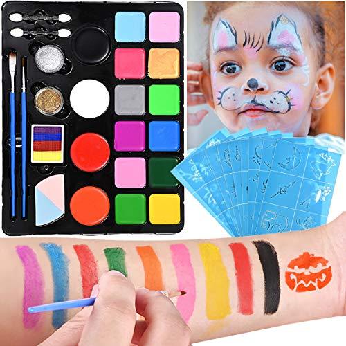 Nabance Pinturas de Cara para Niños Set Pintura Facial Pintura Corporal con 16 Colores Maquillaje para Cuerpo Professionale con 58 Plantillas de Pintura para Halloween