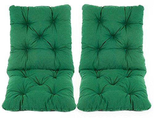 Ambientehome Lot de 2 Coussins Haut Dossier HANKO pour Fauteuil de Jardin, Coton, ca. 98 x 50 x 8 cm, Ton Vert, 98x50x8 cm