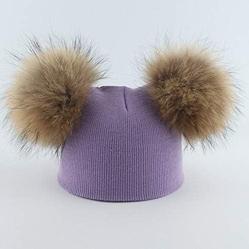 Fdre Double Fleece Cute Girl boy Baby hat for Kids mom Warm Knitted hat Girl boy Casual kidhead45-52cm Purple